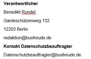 Datenschutz Busfreude.de